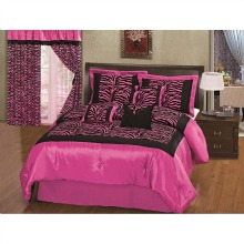 8pcs Hot Pink Black Satin Zebra Flocking Comforter Set Queen Size